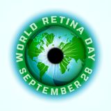 World retina day. September 28 - world retina day. Logotype or event symbol idea. Editable vector illustration in blue and green colors isolated on a light stock illustration