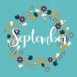September. Wreath of  flowers, leaves, dandelion, grass.  Stock Images