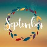 September. Wreath of flowers, leaves, dandelion, grass.  Stock Image
