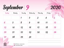 September 2020 Year Template, Calendar 2020 Vector, Desk Calendar Design, pink flower concept for cosmetics, beauty, spa, business. Week Start On Sunday royalty free illustration