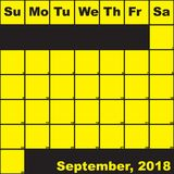2018 September yellow on black planner calendar. With huge space for notes Stock Photo