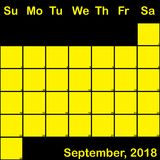 2018 September yellow on black planner calendar big. 2018 September yellow on black planner calendar with huge space for notes Stock Photo