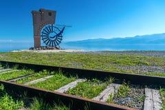 1. September Zeichen, das den Anfang der Circum-Baikal-Eisenbahn markiert Lizenzfreies Stockfoto