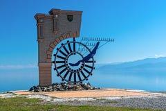 1. September Zeichen, das den Anfang der Circum-Baikal-Eisenbahn markiert Lizenzfreie Stockfotografie