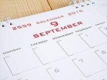 2016 septembre à la page 1 de calendrier Photographie stock