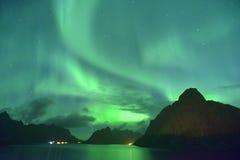 2016 septembre Aurora borealis de lumières du nord de Lofoten, Norvège Images stock