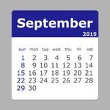 Septembre 2019 calendrier La semaine commence dimanche illustration de vecteur
