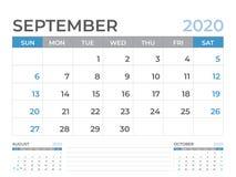 Septembre 2020 calibre de calendrier, taille de disposition de calendrier de bureau 8 x 6 pouces, conception de planificateur, dé illustration stock