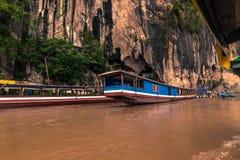 21 septembre 2014 : Entrée aux cavernes de Pak Ou, Laos Image libre de droits