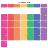 septembre 2018 grands jours de la semaine de couleur de l'espace de note de planificateur sur le blanc Image libre de droits