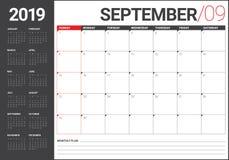 Septembre 2019 illustration de vecteur de calendrier de bureau illustration stock