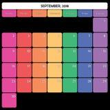 septembre 2018 jours de la semaine spécifiques de couleur du grand espace de note de planificateur Photographie stock