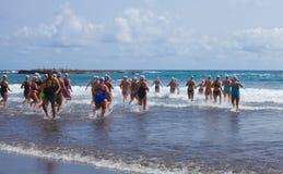 13 septembre 2014, mamie bain de Canaria, mer Images stock