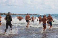 13 septembre 2014, mamie bain de Canaria, mer Photos stock
