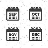 Septembre, octobre, icônes des novembre et décembre Symboles de calendrier Images libres de droits