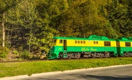 15 septembre 2018 - Skagway, AK : Train ferroviaire de passage blanc voyageant à côté de la manière du congrès, près de Dewey Cre photos libres de droits