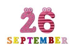 26 septembre, sur un fond blanc, les lettres et des nombres Images libres de droits