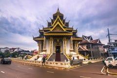 25 septembre 2014 : Temple bouddhiste à Vientiane, Laos Image libre de droits