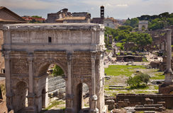 Septemus Severus Arch Titus Arch Forum Rome Italy. Septemus Severus Arch Forum Rome Italy Stone arch was built in the memory of Emperor Septemus Severus, who Royalty Free Stock Photography