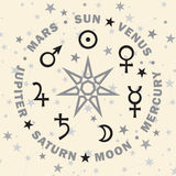 The Septener. Star of The Magicians. Seven planets of Astrology. Stock Image