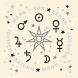 The Septener. Star of The Magicians. Seven planets of Astrology. Stock Photography