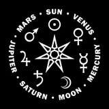 Septener Stella dei maghi Sette pianeti di astrologia Fotografie Stock
