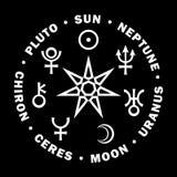 Septener van Nieuwe Leeftijd Zeven hogere planeten van Astrologie royalty-vrije illustratie