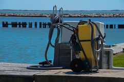 Septic Pump Out Station. At a marina in Palacios, Texas stock photography
