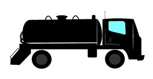 Septic tank truck. In silhouette over white Stock Photos