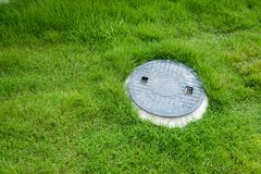 Septic tank underground waste treatment system. In the garden stock images