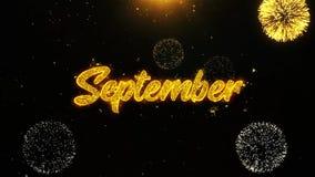 Septiembre desea la tarjeta de felicitaciones, invitación, fuego artificial de la celebración colocado