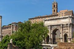 Septimius Severus Arch at Roman Forum in city of Rome, Italy. ROME, ITALY - JUNE 24, 2017: Septimius Severus Arch at Roman Forum in city of Rome, Italy Royalty Free Stock Photos
