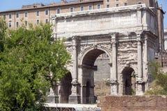Septimius Severus Arch at Roman Forum in city of Rome, Italy. ROME, ITALY - JUNE 24, 2017: Septimius Severus Arch at Roman Forum in city of Rome, Italy Stock Photos