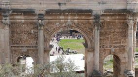 Septimius Severus Arch, Roman Forum. Rome, Italy stock video footage