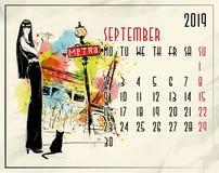 septyczny 2019 europejczyka kalendarz z mody dziewczyną royalty ilustracja
