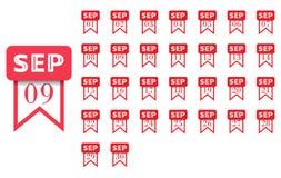septyczny Kalendarzowa ikona dla każdy dnia miesiąc Mieszkanie styl również zwrócić corel ilustracji wektora ilustracja wektor