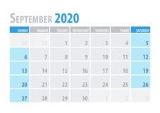 septyczny Kalendarzowy planista 2020 w czystym minimalnym stołowym prostym stylu również zwrócić corel ilustracji wektora ilustracja wektor