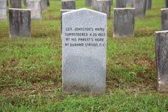 Sepulcro de Pvt confederado Lorenzo L Bennitt, vista posterior, tornos imagen de archivo