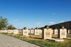 Sepulcros en el cementerio soviético de Rossoshk Stalingrad, Rusia imagen de archivo libre de regalías