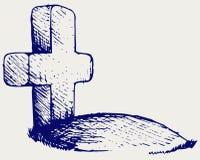 Sepultura com uma cruz Fotos de Stock Royalty Free