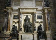 Sepultura monumental do condottiero Gian Giacomo Medici por Leone Leoni, Milan Cathedral imagens de stock