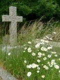 Sepultura velha com flores selvagens e cruz Imagens de Stock Royalty Free