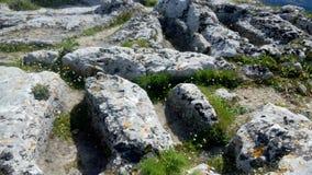 Sepulturas antropomórficas misteriosas sobre Angelocastro, Corfu Fotos de Stock Royalty Free