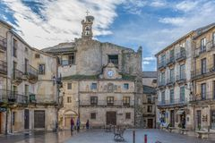 Sepulveda in Segovia. Sepulveda, Segovia, Spain; 03 17 2018: Square and facade of the town hall of the village of Sepulveda Royalty Free Stock Images