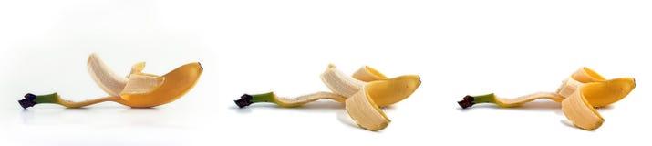 Seqüência de uma banana em três estágios da mordida. Imagem de Stock Royalty Free