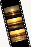 Seqüência do por do sol em uma película de 35mm Fotos de Stock Royalty Free