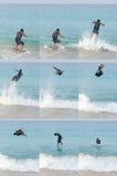 Seqüência do salto de Skimboarding Fotografia de Stock Royalty Free
