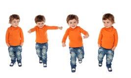 Sequência de quatro crianças ativas imagens de stock