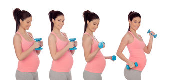 Sequência de quatro fotos da mulher da gravidez com pesos Fotografia de Stock Royalty Free