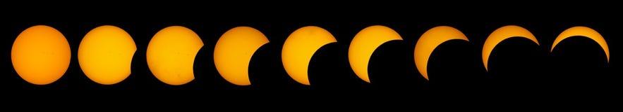 Sequência do eclipse solar imagem de stock